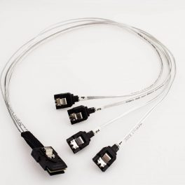 Amphenol Mini-SAS Straight to 4 x SATA Latch Cable