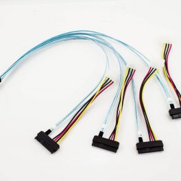 Amphenol Mini-SAS to 4 x 29p SAS with LP4 Power Cable