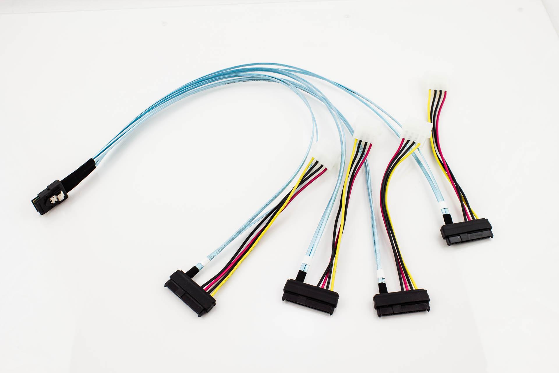 Amphenol Mini Sas To 4 X 29p Sas With Lp4 Power Cable