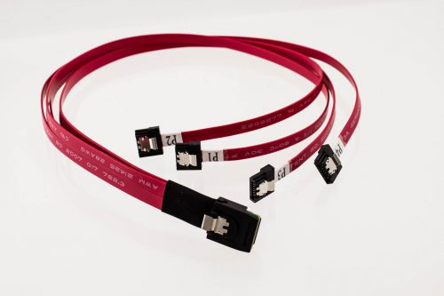 Slim Mini-SAS Straight to 4 x Mini-SATA Latch Cable