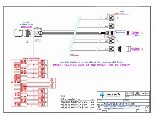 Slim Mini-SAS Straight to 4 x Mini-SATA Latch Sidebands Cable(set out)