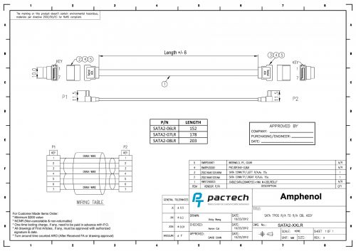 Amphenol SATA Cable (Left Angle to Right Angle without Latch)