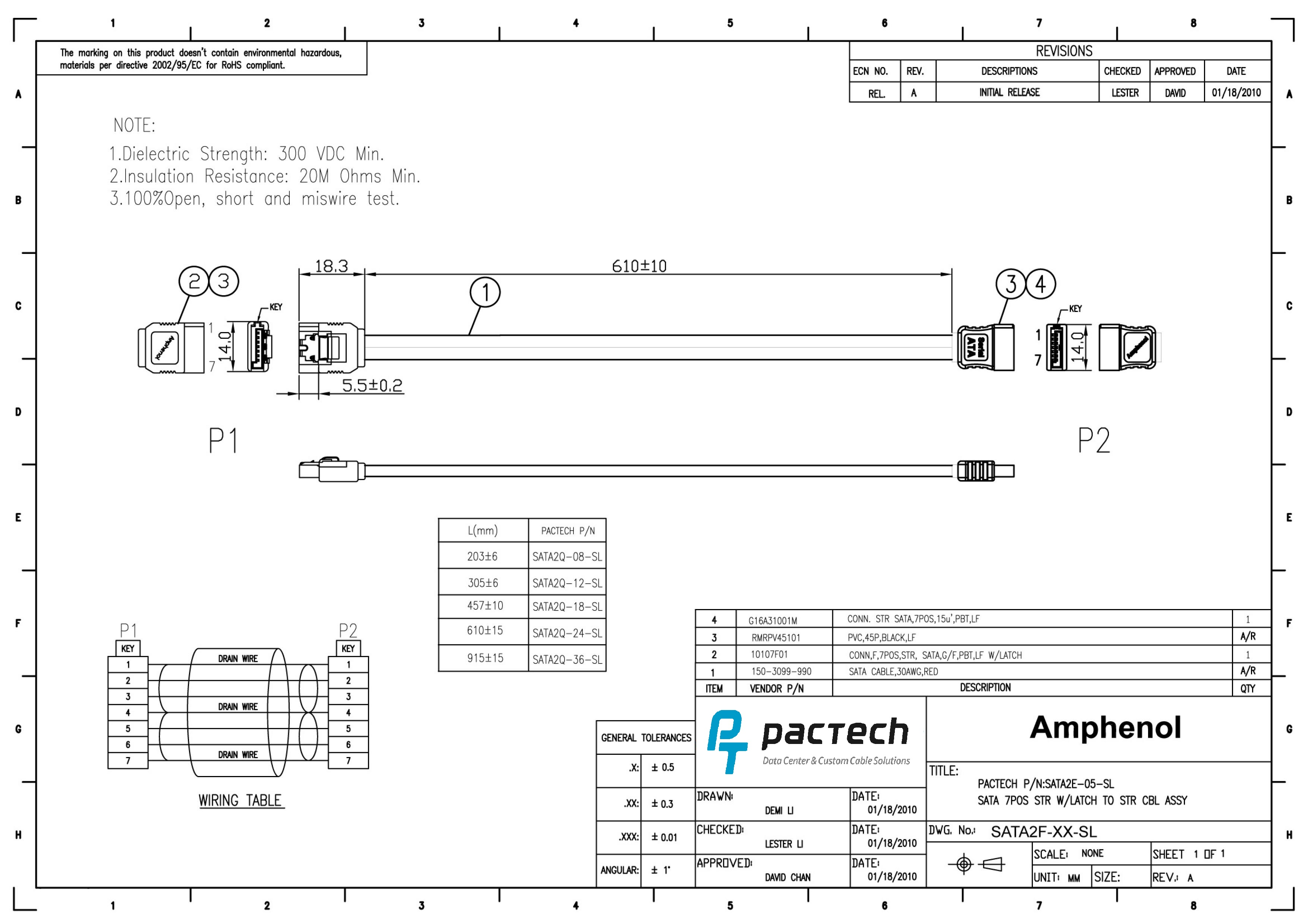 Amphenol Extra Slim Sata Cable Straight With Latch To Wire Diagram Without Latchsent