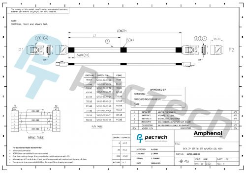 Amphenol SATA III 30 AWG Cable (Straight to Straight with Latch)
