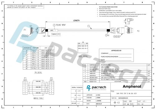 Amphenol SATA III 30 AWG Cable (Straight to Right Angle)