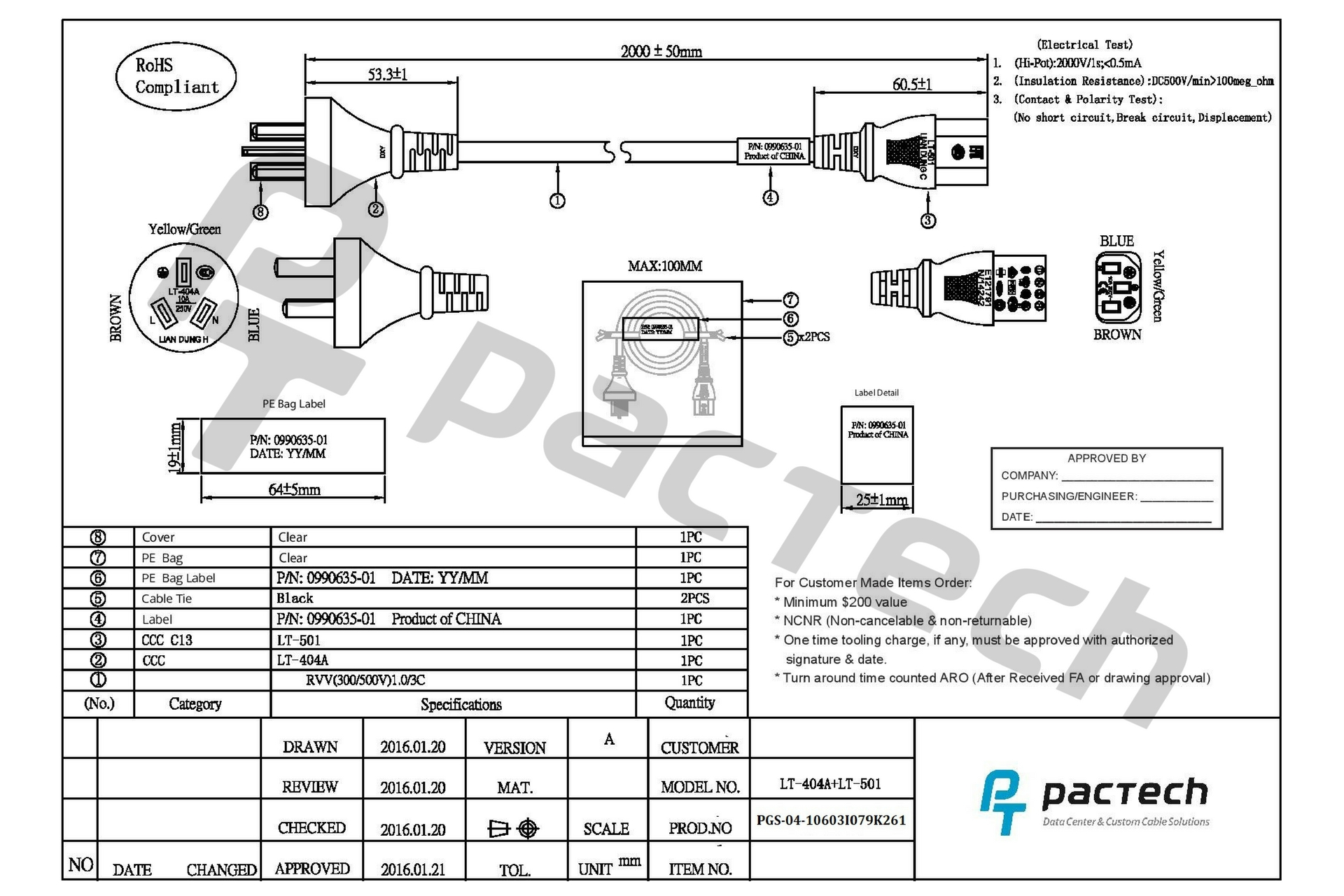 China Power Cord Pactech