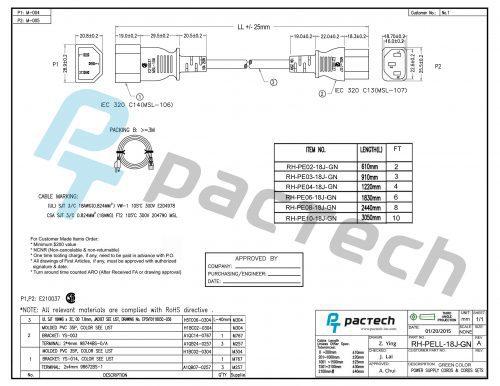 Data Center Power Cord – IEC320 C14/C13, 18AWG, SJT, 10A, 250V, Green
