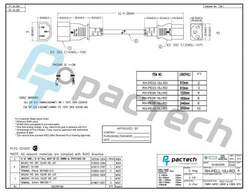Data Center Power Cord – IEC320 C14/C13, 18AWG, SJT, 10A, 250V, Red