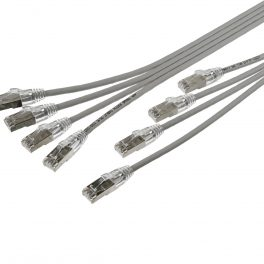"CAT6A 28AWG Ribbon x4 Step Length (1.75"") 10G Cable – FlexLite™ UFTP OD 5.0mm 550MHZ LSZH Grey"