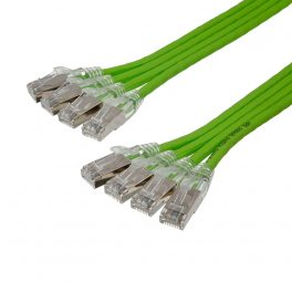 CAT6A 28AWG Ribbon x4 10G Cable – FlexLite™ UFTP OD 5.2mm 550MHZ Soft PVC Shrek Green
