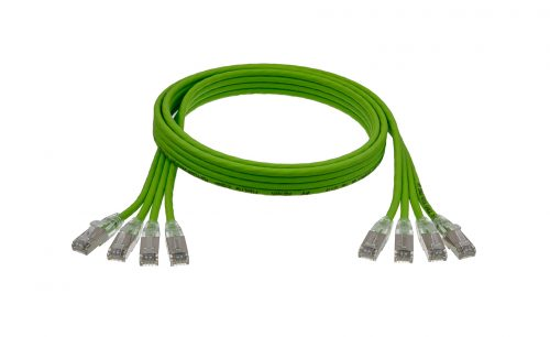 CAT6A 28AWG Ribbon x4 10G Cable – FlexLite™ UFTP OD 5.2mm 550MHZ Soft PVC Shrek Green Cable