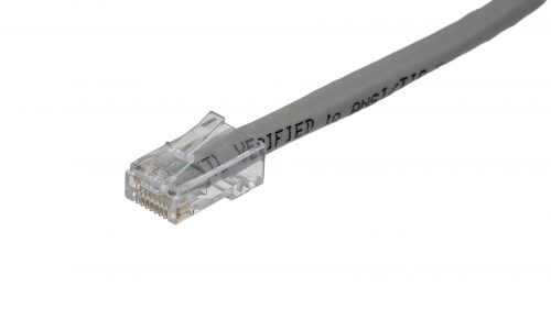Clear RJ45 connectors CAT6 Cable – Round Non-Snagless UTP - Grey