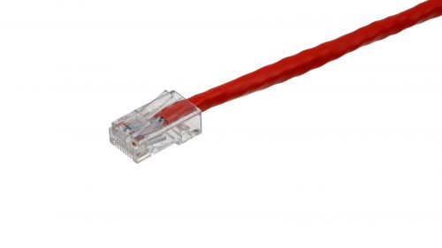 CAT5e Cable – Clear Plug, Non-Snagless, Non Booted Red
