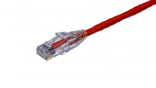 CAT5e Cable – Sentinel®Plug, Snagless with Clear Boot Red