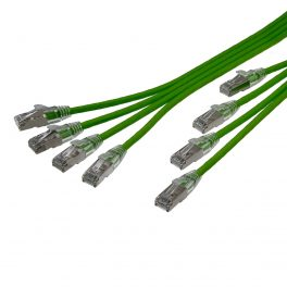 "CAT6A 28AWG Ribbon x4 Step Length (1.75"") 10G Cable – FlexLite™ UFTP OD 5.2mm 550MHZ Soft PVC Shrek Green"