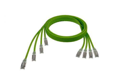 "CAT6A 28AWG Ribbon x4 Step Length (1.75"") 10G Cable – FlexLite™ UFTP OD 5.2mm 550MHZ Soft PVC Shrek Green Cable"