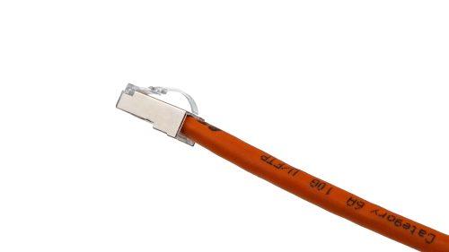 Arch Latch RJ45 connectors CAT6A Soft PVC Cable – Round UFTP Orange