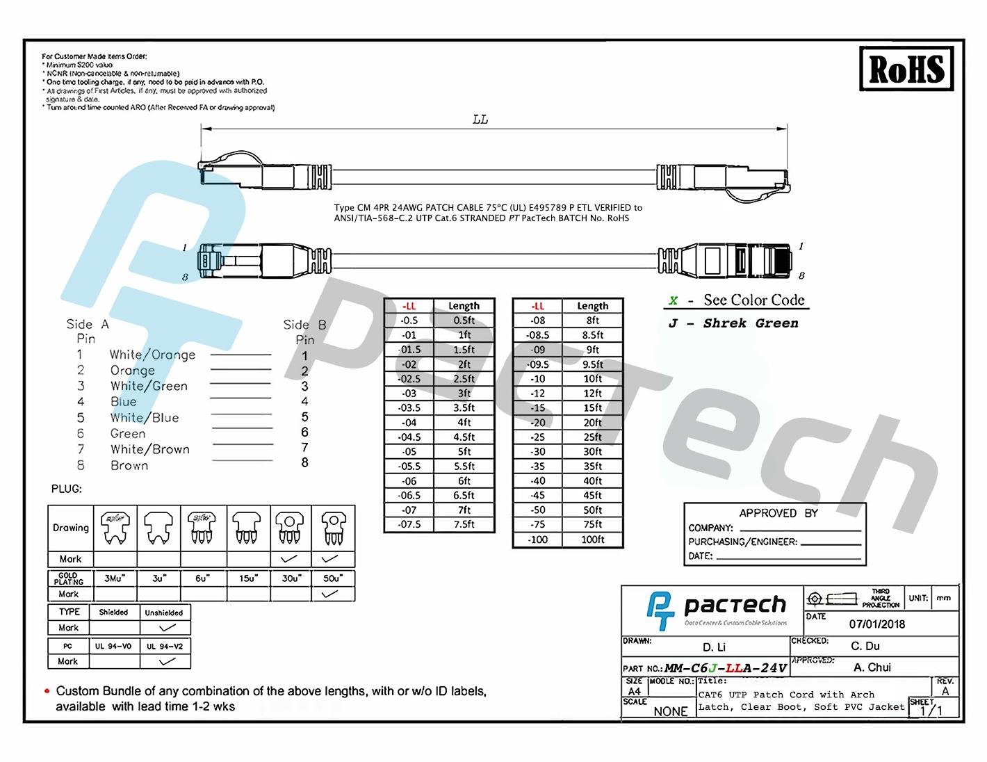 new arch latch rj45 connectors cat6 soft pvc cable
