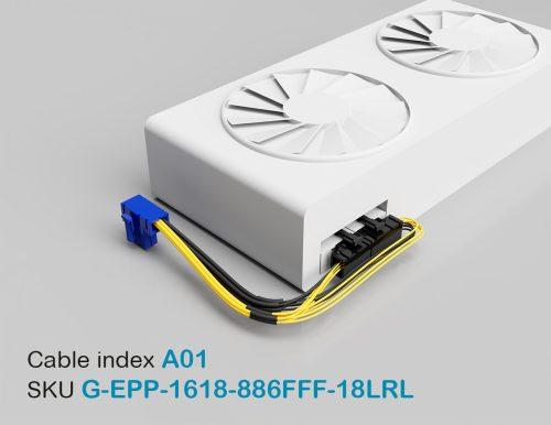 """18"""" GPU EPS Female Left-Angled 8P to PCI-E Female Right-Angled 8P + PCI-E Female Left-Angled 6P 16&18AWG Wire"""