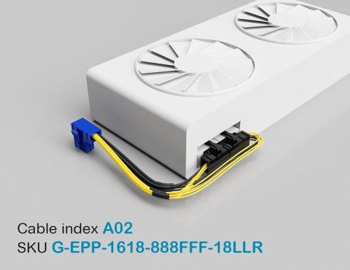 """18"""" GPU EPS Female Left-Angled 8P to PCI-E Female Left-Angled 8P + PCI-E Female Right-Angled 8P 16&18AWG Wire"""