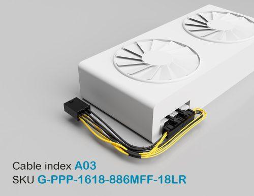 """18"""" GPU PCI-E Male 8P to PCI-E Female Left-Angled 8P + PCI-E Female Right-Angled 6P 16&18AWG Wire"""