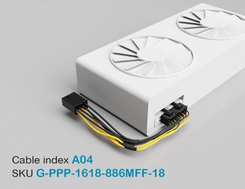 "18"" GPU PCI-E Male 8P to PCI-E Female 8P + PCI-E Female 6P 16&18AWG Wire"