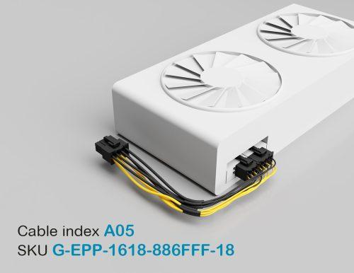 "18"" GPU EPS Female 8P to PCI-E Female 8P + PCI-E Female 6P 16&18AWG Wire"