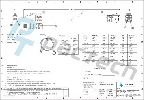 FlexLite™ CAT6 UTP 28AWG Patch Cord PVC RJ45 Plug to Keyston Jack