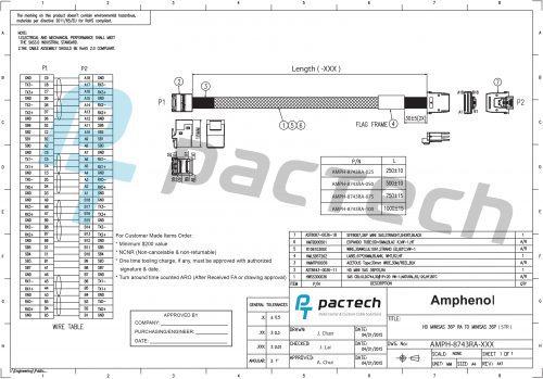 Amphenol 36-pin Internal Mini-SAS HD Angled to 36-pin Internal Mini-SAS SFF-8743 Short Cable