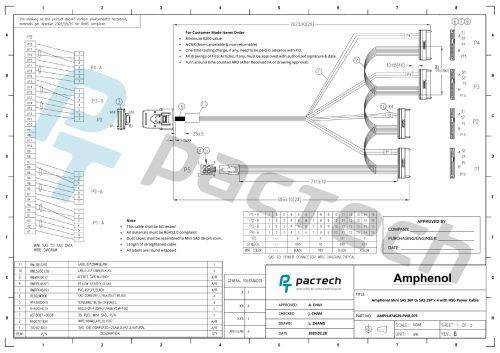 Amphenol Mini SAS 36P to SAS 29P x 4 with HSG Power Cable