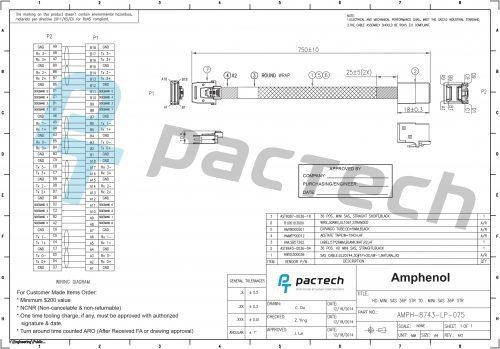 Amphenol Low Profile 36-pin Internal Mini-SAS SFF-8743 Short to 36-pin Internal Mini-SAS HD Cable