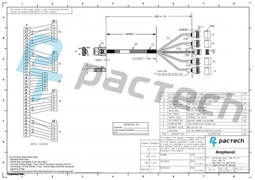 Amphenol Mini-SAS SFF-8087 Straight to 4 x Angled SATA Latch with Sideband Cable