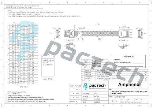 Amphenol 24G Internal SlimSAS SFF-8654 4i STR 38Pos, SAS 4.0, 100ohm