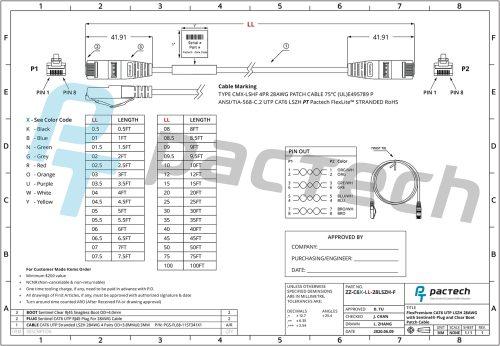 ZZ-C6X-LL-28LSZH-F (Sentinel® RJ45 Connectors with CAT6 28AWG