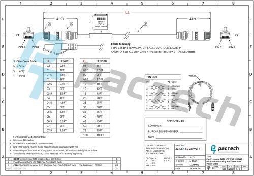 ZZ-C6X-LL-28LSZH-F (Sentinel® RJ45 Connectors with CAT6 28AWG C